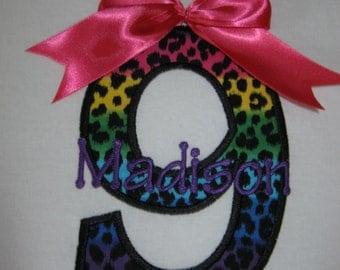 Personalized Girls Leopard / Cheetah Multi colored Print Birthday Shirt shown here as girls 9th birthday shirt