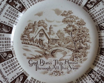 1961 Staffordshire Plate Brown Transfer Ware  //  God Bless This House Through All this Year  //  Made in England  //  Calendar Plate 1961