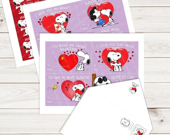 Snoopy Valentine Printable Cards (Four On a Sheet), Matching Envelope and Hug Coupons, INSTANT DOWNLOAD