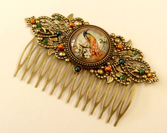 Hair comb with peacock, crystal hair accessories, antique, bird hair comb, thick hair