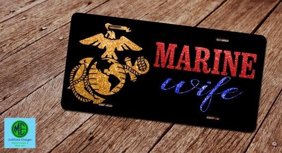 marine wife license plate  license plate frame  custom license