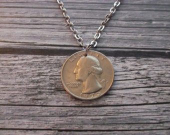 US Quarter Coin Necklace - 1970  US Quarter Coin Pendant -  1970 Coin Necklace - 45yr Anniversary Gift