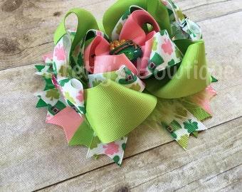 St. Patrick's  Bow -- Saint Patricks Large Bow -- St. Patricks Day Headband -- Pink, green, white