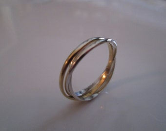 Russian Trilogy Ring Set with  3 Interlocked Sterling and 24K Bright Gold Vermeil Rings