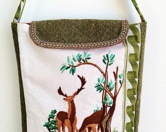 Handmade bag using vintage embroidery and wool tweed