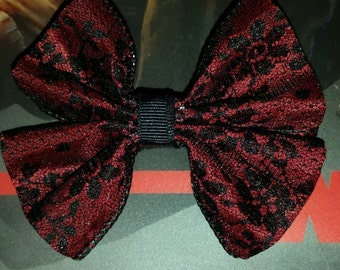 Red lace hair bow