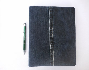 Denim Composition Book Cover, features inseam, for journaling, poetry, class notes, logging thoughts, for protection and  easy ID