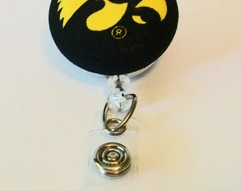 Black and Gold Hawk Inspired Fabric Button Retractable Badge Reel Clip
