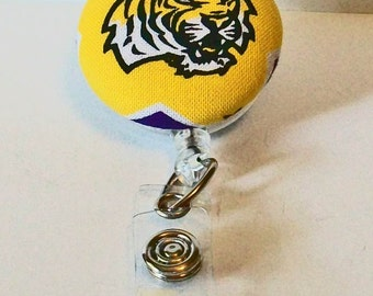 Fun Purple and Gold Tiger Head Tigers Inspired Fabric Button Retractable Badge Reel Clip