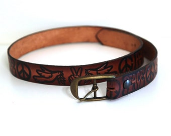 Vintage 70s tooled leather belt and buckle peace love hippie brown