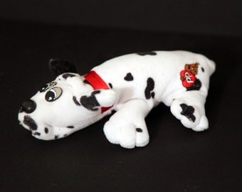 Vintage 80s POUND PUPPY stuffed animal plush dog white black dalmation