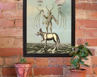 Surreal Print - Collage Art - Blue - Wall Art - Surreal Poster - Fantasy - Water - Vintage Illustration