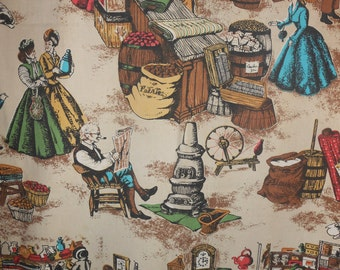 Vintage Victorian Era Scene Table Runner Cutter Fabric 23x72