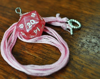 Pearlescent Pink D20 Necklace