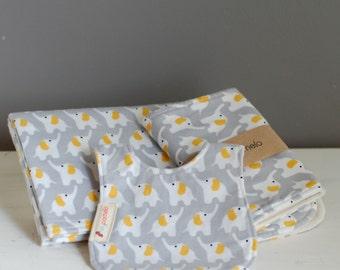 Baby Essentials Gift Set - organic cotton flannel, Grey, Elephant, baby bib, burp cloth, receiving blanket