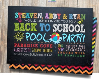 Back to School Pool Party /  End of Summer / Printable Party Invitation / Chalkboard