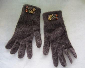 Knit Gloves Embellished Rhinestones