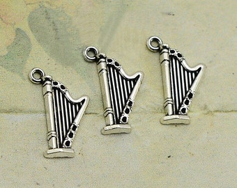 20 pcs 24x15mm Harp Charm . Antique Silver Tone Harp Charm . Harp Pendant. Creative parts
