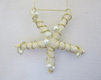 Gold Wire Wrap Starfish Necklace