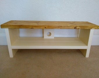 Rustic tv stand with antique pine top