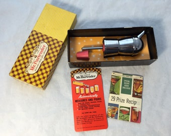 1950s vintage Mr. Bartender automatic Measurer and Pourer, Vintage Retro Bar Ware, NOS, Unused in Box