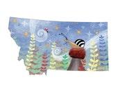 "Montana Map 5x5"" card -  Snail and ladybug with mushroom and colorful plants"