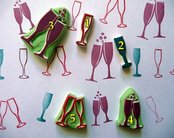 Champagne Glasses, Wedding Stamps, Rubber Stamp, Hand Carved, Craft Stamp, Anniversary Stamp
