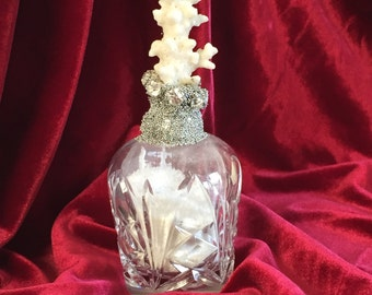 Coral Topped Soldered Bottle Embellished with Rhinestones and Micro Beads