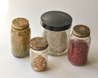 Glass Glitter, Lot As Found, 4 Colors Old Glitter
