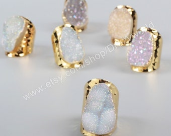 Wholesale Elegant Gold Plated Natural Agate Titanium AB Druzy Band Ring Natural Gemstone Ring Handmade Geode Jewelry Ring G0904