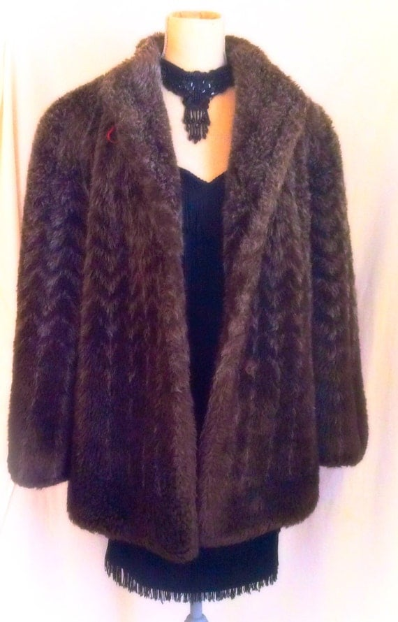 Faux fur winter jacket vintage made in USA shaggy faux fur