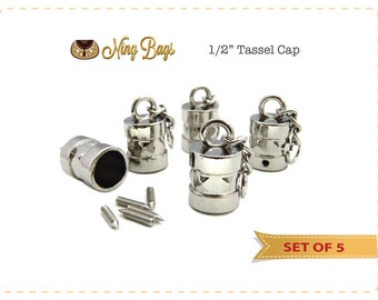 Tassel Cap, Handbag Accessory,  Hanging Tassel Cap for Bags, Purses, Totes / Bag Hardware in Nickel Finish (Set of 5)