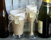 Champagne Flute and Beer Glasses / Rustic Wedding Glass / Country Wedding Toasting Glasses / Barn Wedding Glasses / Monogram Engagement Gift