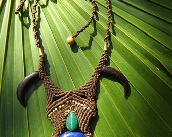 Tribal necklace with handcarved coconut