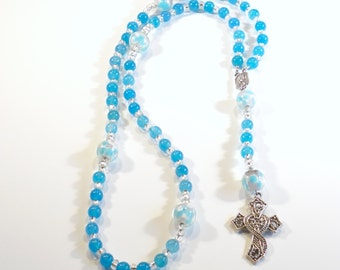 Handcrafted Catholic Saints Rosary Necklace Beaded Chain - Light Blue and White