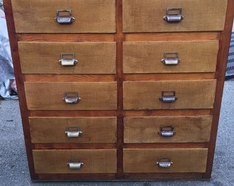 Vintage card catalog wood file cabinet