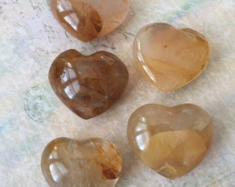 Golden/Yellow Hematoid Quartz Puffy Hearts