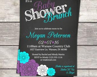 Baby Shower brunch invitation gray teal and purple flowers, custom colors, digital files printable