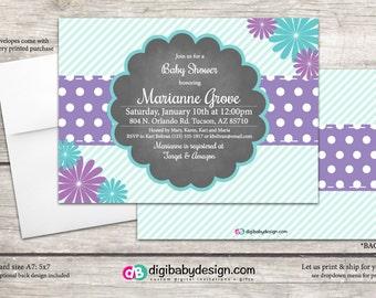Daisy and Polkadots Baby Shower invitation teal and purple custom digital files