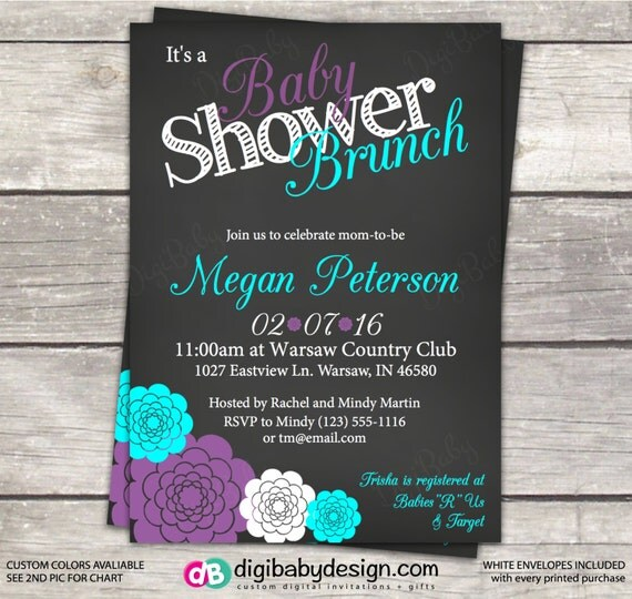 baby shower brunch invitation gray teal and purple flowers custom