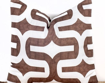 SALE ENDS SOON Brown and White Throw Pillow Case, Decorative Throw Pillow Cover, Brown Tiles, Sizes 12 14 16 18 20 22