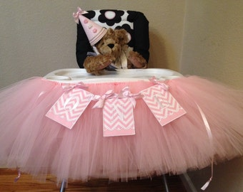 Pink and White Embroidered High Chair Banner and Tutu, One,  Baby's first birthday, 1St birthday