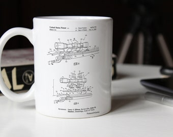 Black Powder Rifle Scope Patent Mug, Gun Enthusiast, Rifle, Hunting Decor, Hunter Gift, Gun Mug, PP0740