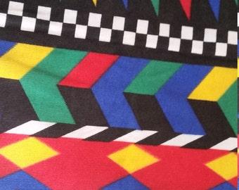 Aztec poly cotton colourful fleece fabric