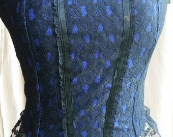 Black lace and rich blue Chauvel Designs corset size 12