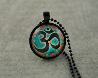 Om Necklace, Om Pendant, Om Jewelry, Spiritual Necklace, Eastern Spirituality, Sanskrit Om, Sanskrit Jewelry, Om, Glass Dome Necklace,