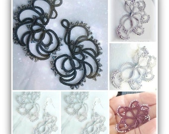 Shuttle tatting pattern and tutorial 2 in 1, step by step instruction and pictures for Cassiopea earrings and variation