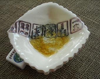 Mahjong Bowl - White Mahjong Pottery - Oriental Bowl - Glass Bottom Bowl - Mahjong Gift