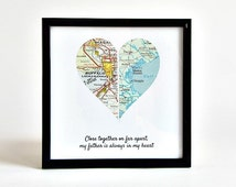 Personalized Map Heart / Long Distance Map / Distance Map for Grandparents / Long Distance Best Friend / Grandparents Gift / Gift for Sister