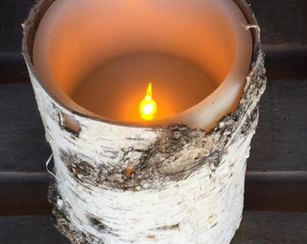 """Flameless Timer Candle Wrapped in Birch Bark - 4"""" x 6"""""""